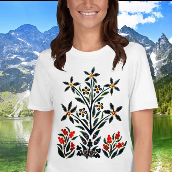 Woamn wearing a Black Slavic Flower Tshirt by Mrugacz.