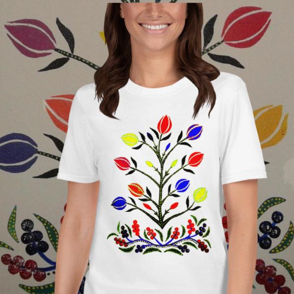Lady wearing Colorful Slavic Flowers Tshirt from Mrugacz.