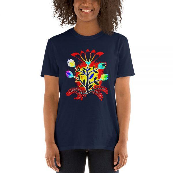 Woman wearing a Mrugacz shirt.