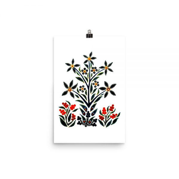 Slavic design- black flowers on white background.