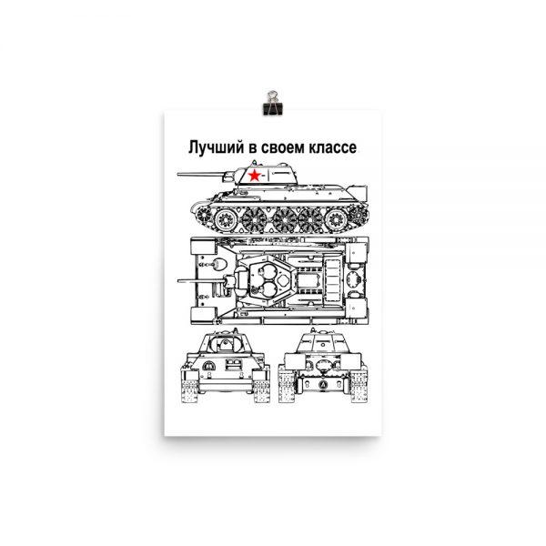 Soviet T34 tank blueprint on white paper poster.