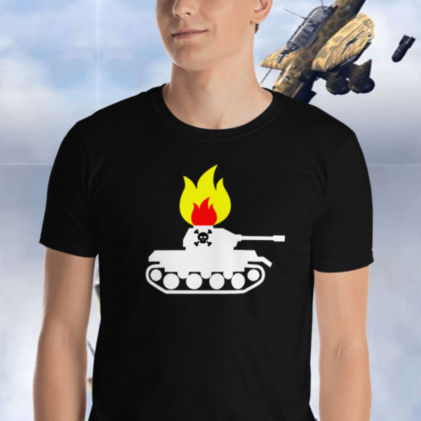 Man wearing a Flaming Panzer BBQ Tshirt from Mrugacz