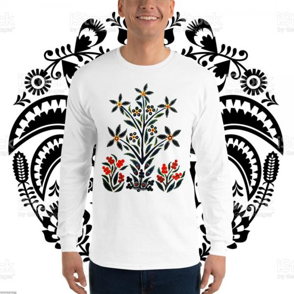 Guy wearing a Slavic Black Flowers Longsleeve by Mrugacz.