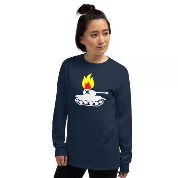 Woman wearing Mrugacz design t-shirt.