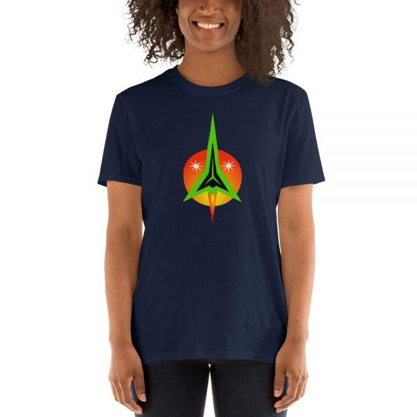 Woman wearinga shirt designed by Anthony Mrugacz