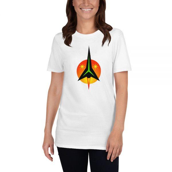 Woman wearing a beautiful shirt by Anthony Mrugacz.