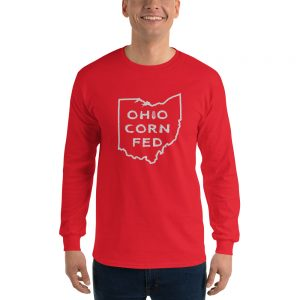 "Man wearing a longsleeve ""Ohio Corn Fed"" Mrugacz design shirt."