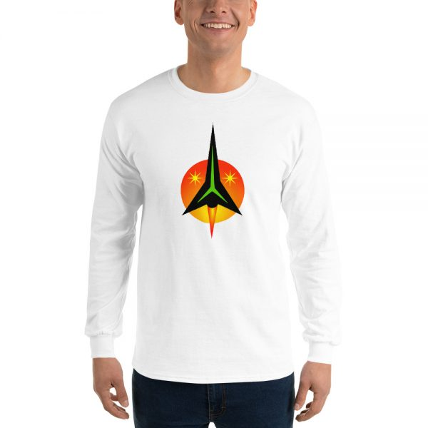 Man wearing a longsleeve Mrugacz design shirt.