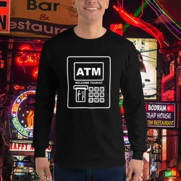 Bloke wearing a ATM Bank Card Longsleeve by Mrugacz.