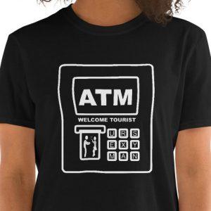 Comic graphic of Southeast Asian ATM machine- travel monger Thailand - Bank Card T-Shirt.