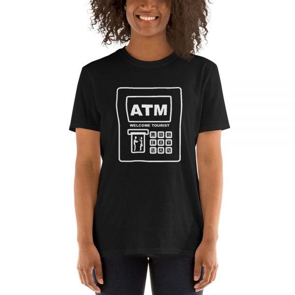 Comic graphic of Southeast Asian ATM machine on a Mrugacz shirt.